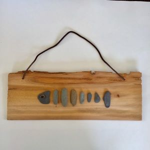 Rustic beachstone fish wall plaque